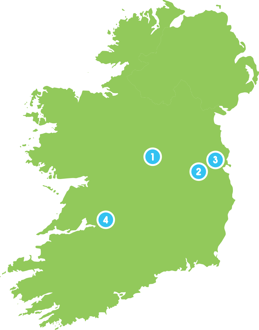 Map of the locations for Up the Hill in Ireland