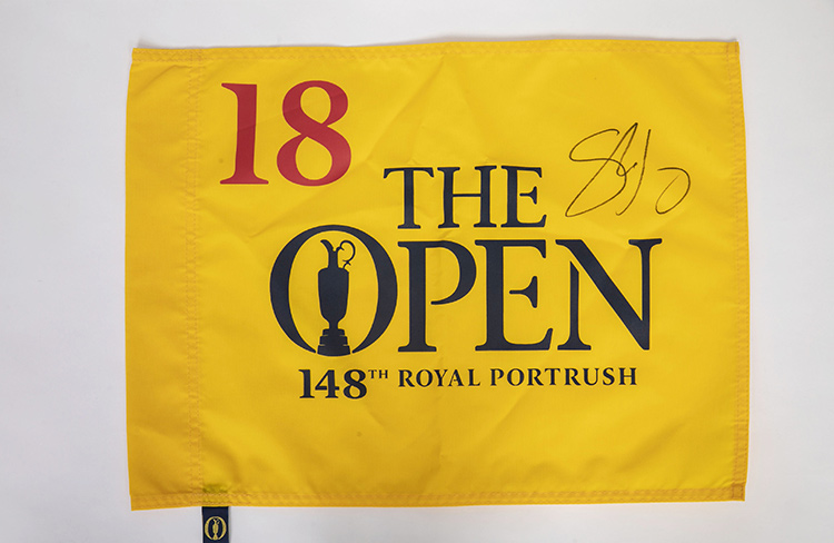18th hole flag signed by Shane Lowry from the Open Championships Royal, Portrush, 2019