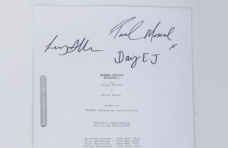 Signed Normal People script by Daisy Edgar Jones, Paul Mescal and director Lenny Abraham