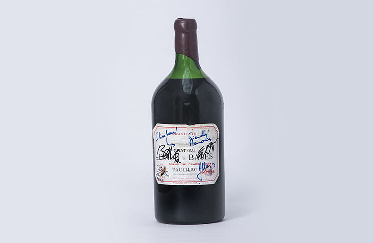 Double Magnum of 1981 Chateau Lynch Bages wine siged by BONO, Philip Orr and Jean Charles Cazes