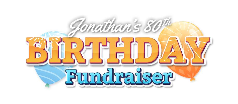 Jonathan 80th birthday fundraiser logo